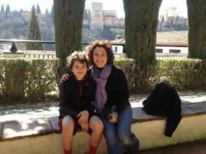 In the Albayzin with a view of the Alhambra.